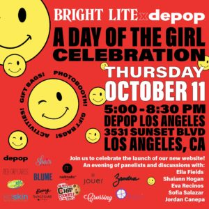 Bright Lite and Depop Event flyer with smileys on the background