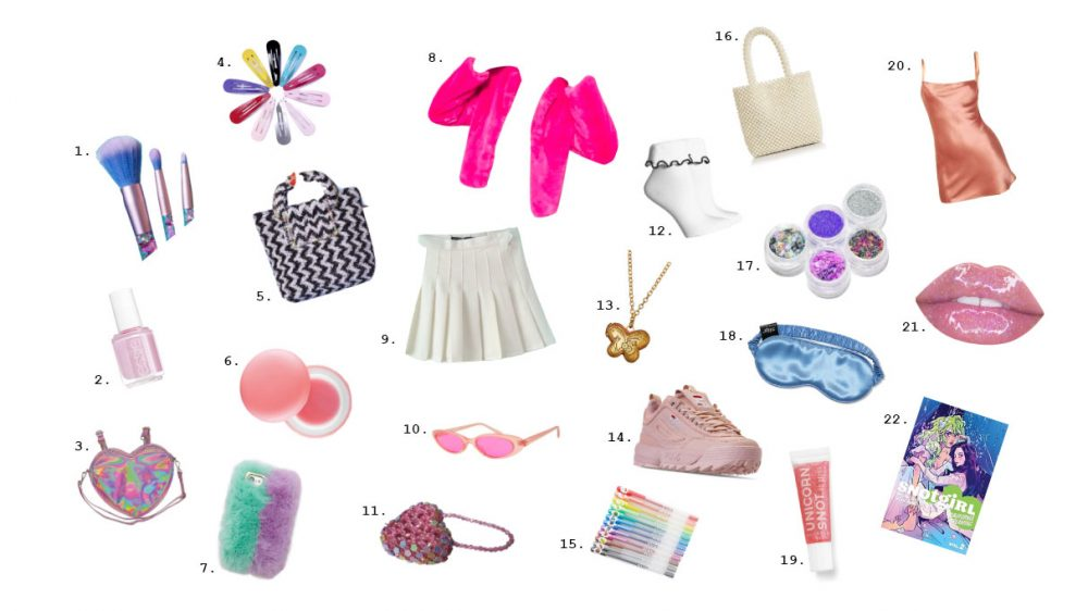 a collection of girly items